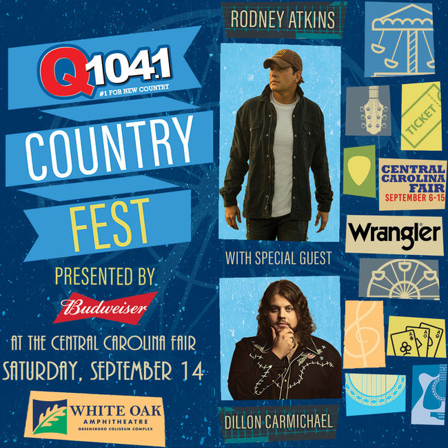 Q104.1 Country Fest: Rodney Atkins & Dillon Carmichael at White Oak Amphitheater
